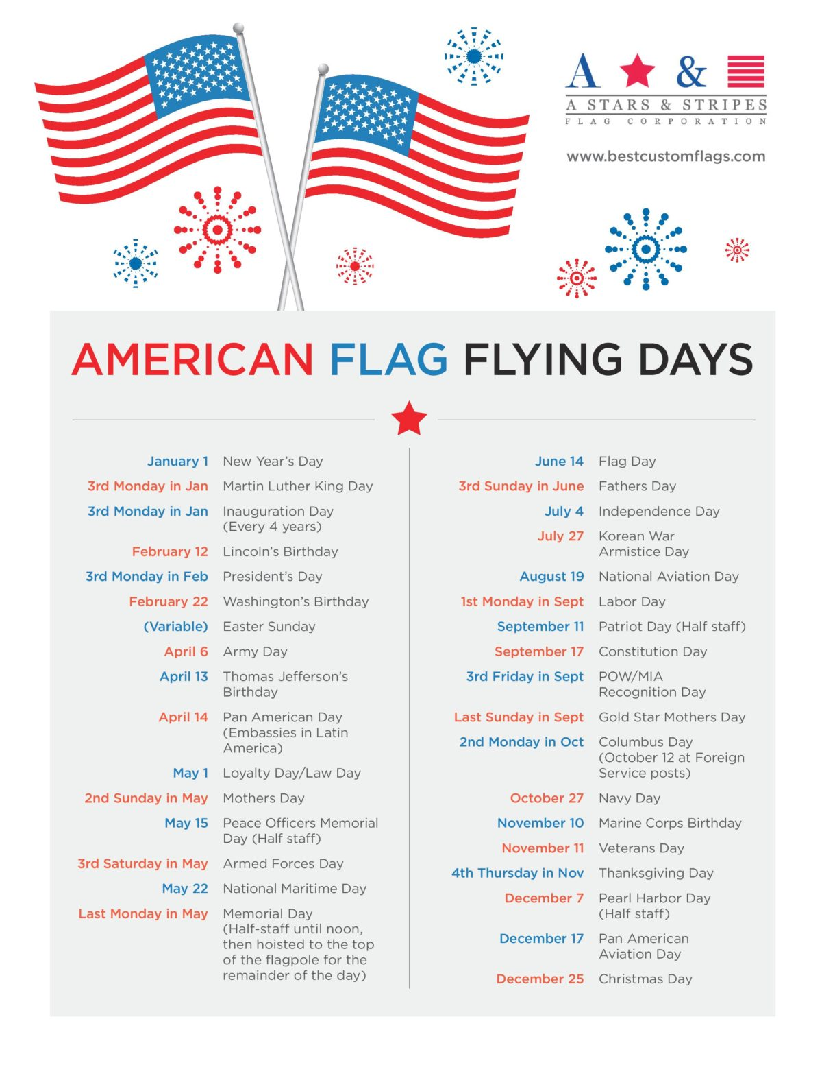 American Flag Flying Days American Flag Flying Holidays