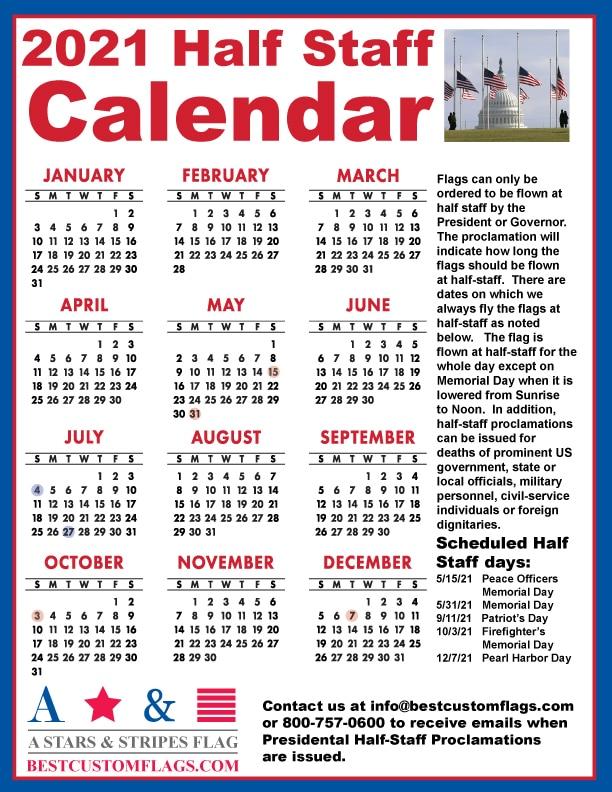 2021 Half - Staff Calendar